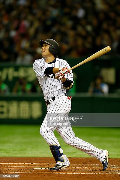 Hayato Sakamoto the Samurai Japan hits a tworun home run during the game against the MLB AllStars at the Tokyo Dome during the Japan AllStar Series...