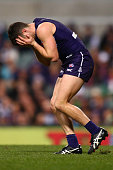 Hayden Ballantyne of the Dockers holds his face after tackling Corey Enright of the Cats during the round 17 AFL match between the Fremantle Dockers...