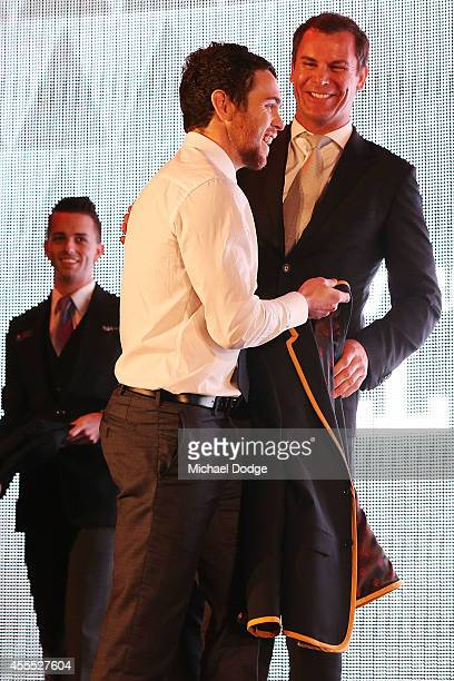 Hayden Ballantyne of the Dockers receives his blazer from Wayne Carey after being announced in the All Australian Team Announcement at Royal...