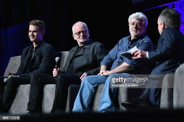 Hayden Christensen Ian McDiarmid George Lucas and Warwick Davis attends the Star Wars Celebration day 01 on April 13 2017 in Orlando Florida
