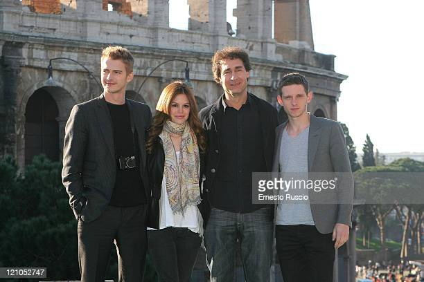 Hayden Christensen Rachel Bilson director Doug Liman and Jamie Bell attend a photocall for 'Jumper' at the Colosseum on February 6 2008 in Rome Italy