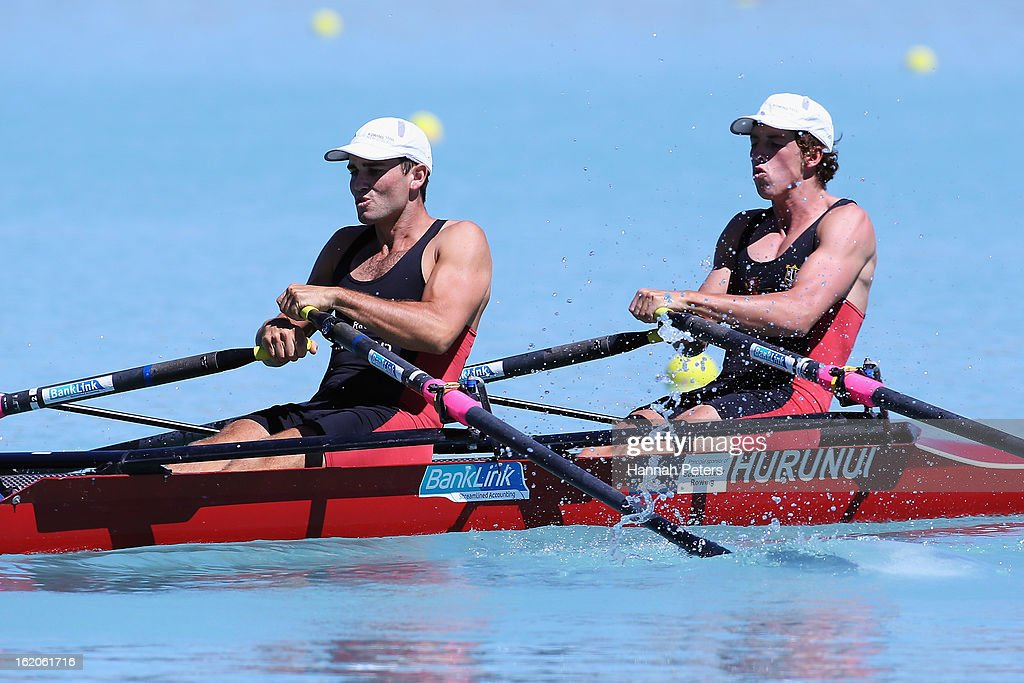 Hayden Cohen and Nathan Flannery of Southern compete in the Men's Premier 2X heat during the New Zealand Rowing Championships at Lake Ruataniwha on...