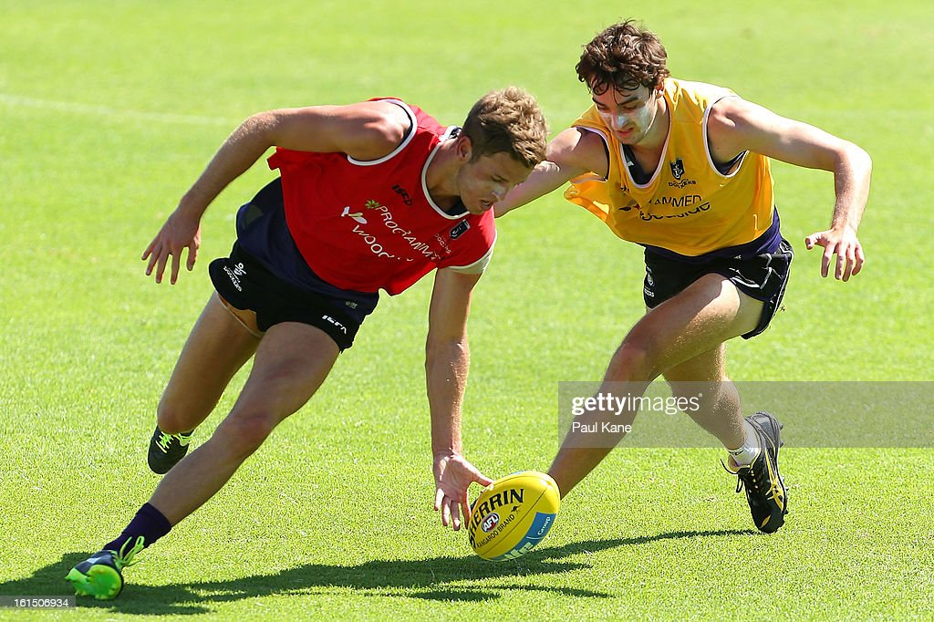 Hayden Crozier and Max Duffy of the Dockers contest for the ball during a Fremantle Dockers AFL training session at Fremantle Oval on February 12, 2013 in Fremantle, Australia.