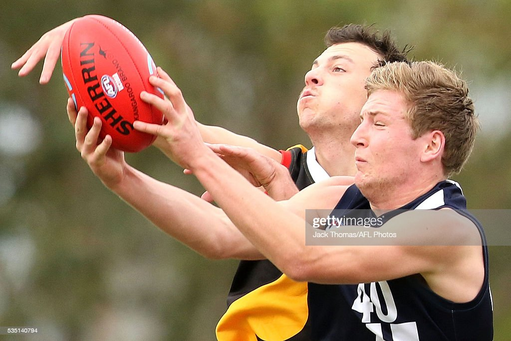 Hayden Elliot of the Geelong Falcons marks the ball during the round eight TAC Cup match between Dandenong Stingrays and Geelong Falcons at Shepley Oval on May 29, 2016 in Melbourne, Australia.
