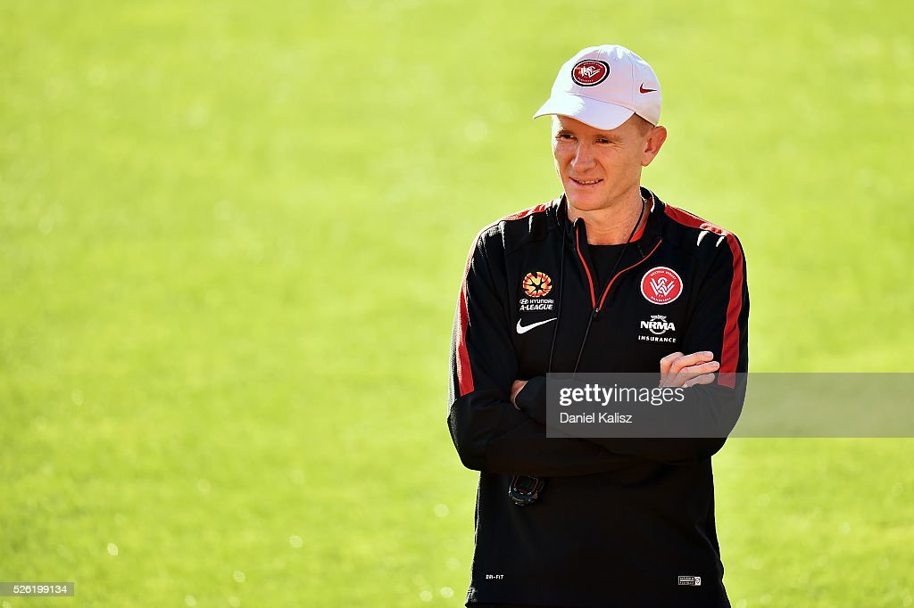 Hayden Foxe assistant coach of the Wanderers looks on during a Western Sydney Wanderers A-League training session at Coopers Stadium on April 30, 2016 in Adelaide, Australia.