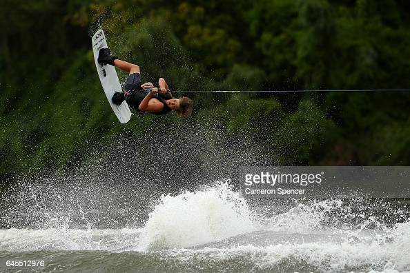 Hayden Fuller competes in the 1014 Boys NSW Wakeboarding State Titles at Govenor Phillip Park Windsor on February 26 2017 in Sydney Australia