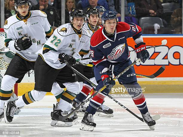 Hayden Hodgson of the Saginaw Spirit skates against Janne Kuokkanen of the London Knights during an OHL game at Budweiser Gardens on October 21 2016...