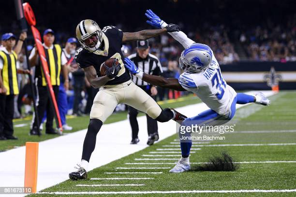 J Hayden of the Detroit Lions forces Ted Ginn of the New Orleans Saints out of bounds during the first half of a game at the MercedesBenz Superdome...
