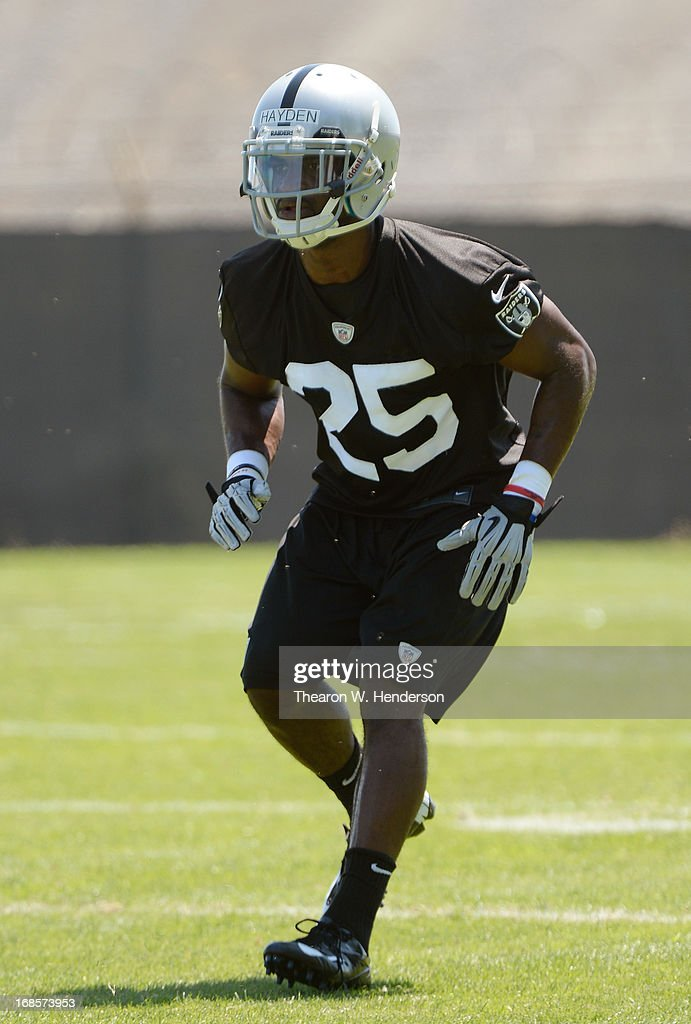 D.J. Hayden #25 of the Oakland Raiders participates in drills during Rookie Mini-Camp on May 11, 2013 in Alameda, California.