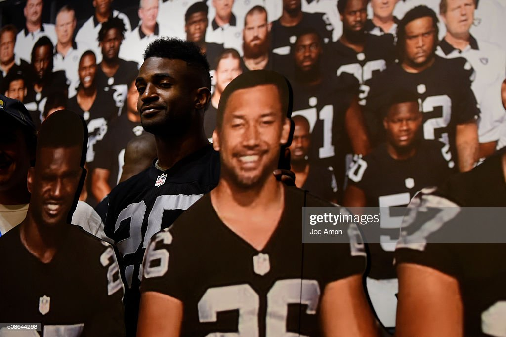 Hayden of the Oakland Raiders poses with himself at the NFL Experience in downtown San Francisco CA February 05 2016