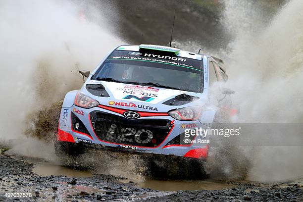 Hayden Paddon and John Kennard of New Zealand pilot the Hyundai Motorsport i20 WRC during the Sweet Lamb stage of the FIA World Rally Championship...