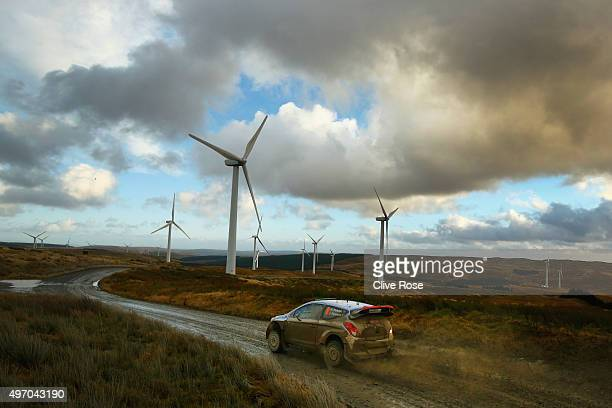 Hayden Paddon and John Kennard of New Zealand pilot the Hyundai Motorsport i20 WRC during the Myherin stage of the FIA World Rally Championship Great...
