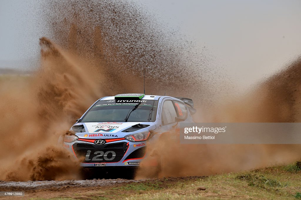 Hayden Paddon of New Zealand and John Kennard of New Zealand compete in their Hyundai Motorsport N Hyundai i20 WRC during Day One of the WRC Italia...