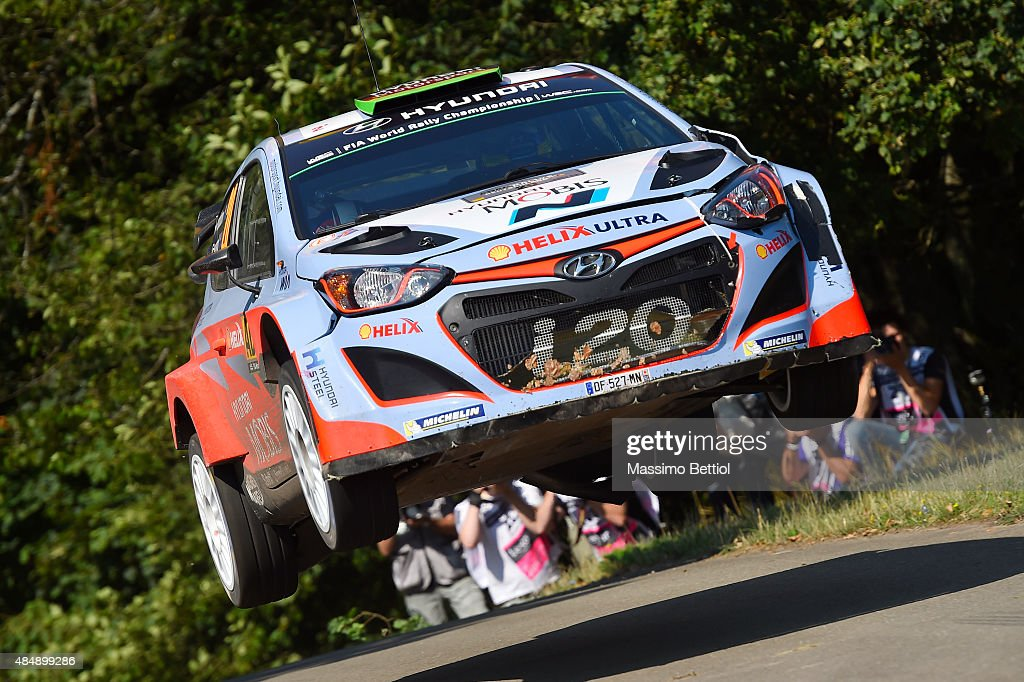 Hayden Paddon of New Zealand and John Kennard of New Zealand compete in their Hyundai Motorsport N Hyundai i20 WRC during Day Two of the WRC Germany on August 22, 2015 in Trier, Germany.