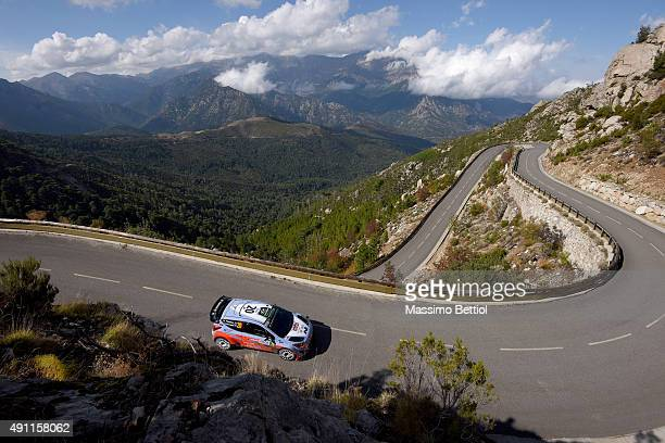 Hayden Paddon of New Zealand and John Kennard of New Zealand compete in their Hyundai Motorsport N Hyundai i20 WRC during Day Two of the WRC France...
