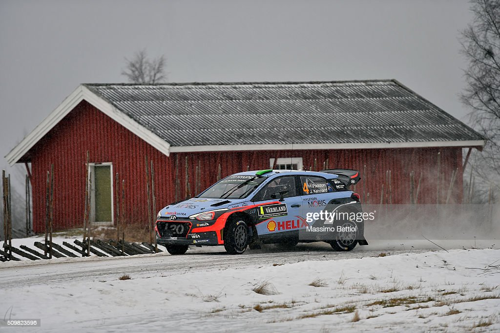 <a gi-track='captionPersonalityLinkClicked' href=/galleries/search?phrase=Hayden+Paddon&family=editorial&specificpeople=4284229 ng-click='$event.stopPropagation()'>Hayden Paddon</a> of New Zealand and John Kennard of New Zealand compete in their Hyundai Motorsport Hyundai i20 WRC during Day One of the WRC Sweden on February 12, 2016 in Karlstad, Sweden.