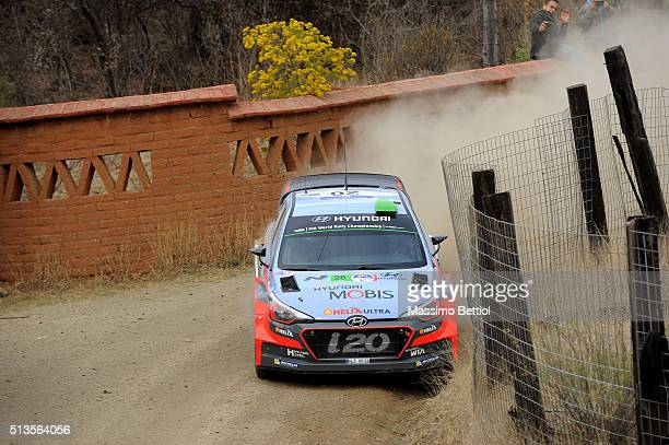 Hayden Paddon of New Zealand and John Kennard of New Zealand compete in their Hyundai motorsport N Hyndai i20 WRC during the Shakedown of the WRC...