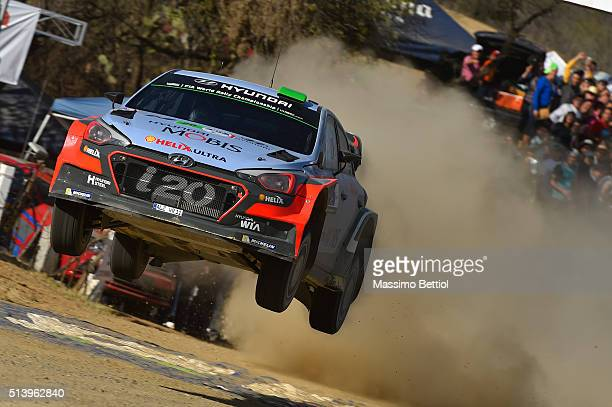 Hayden Paddon of New Zealand and John Kennard of New Zealand compete in their Hyundai Motorsport N Hyundai i20 WRC during Day Two of the WRC Mexico...