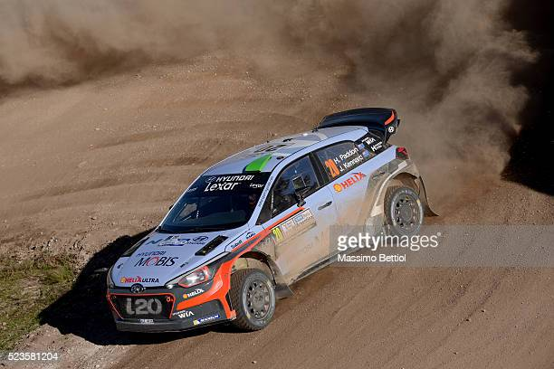 Hayden Paddon of New Zealand and John Kennard of New Zealand compete in their Hyundai Motorsport WRT Hyundai i20 WRC during Day Two of the WRC...