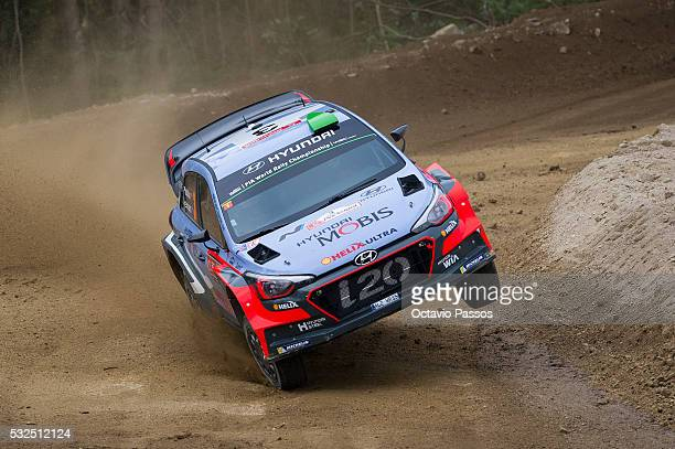 Hayden Paddon of New Zealand and John Kennard of New Zealand compete in their Hyundai Motorsport Hyundai i20 WRC during the shakedown of the WRC...