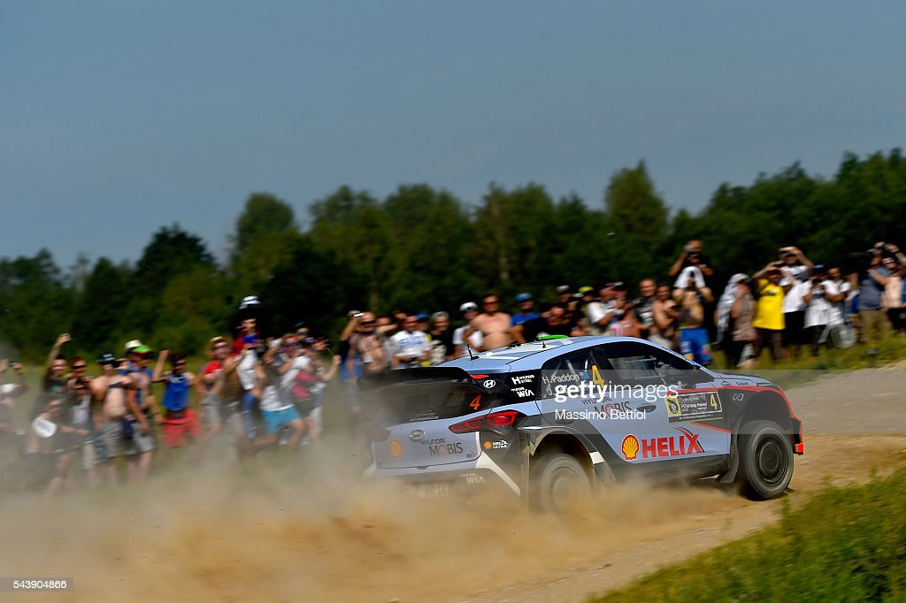 <a gi-track='captionPersonalityLinkClicked' href=/galleries/search?phrase=Hayden+Paddon&family=editorial&specificpeople=4284229 ng-click='$event.stopPropagation()'>Hayden Paddon</a> of New Zealand and John Kennard of New Zealand compete in their Hyundai Motorsport WRT Hyundai i20 WRC during the Shakedown of the WRC Poland on June 30, 2016 in Mikolajki, Poland.