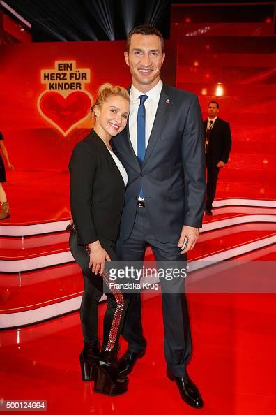 Hayden Panettier and Wladimir Klitschko attend the Ein Herz Fuer Kinder Gala 2015 show at Tempelhof Airport on December 5 2015 in Berlin Germany