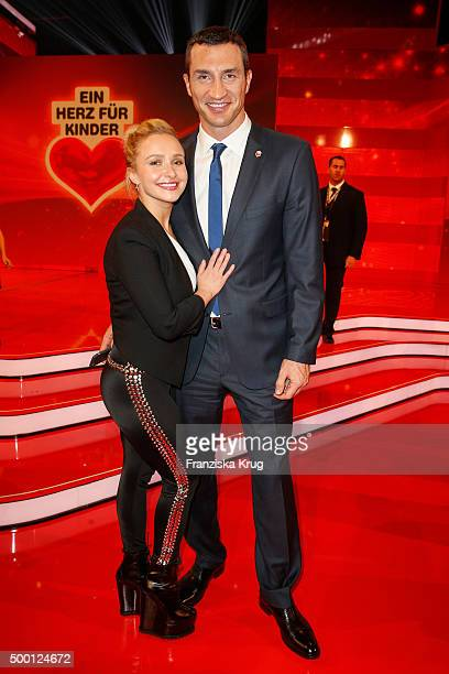Hayden Panettier and Wladimir Klitschko attend the Ein Herz Fuer Kinder Gala 2015 show at Tempelhof Airport on December 5 2015 in Berlin Germany
