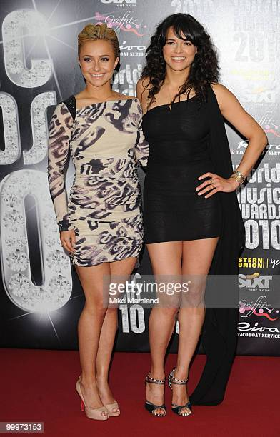 Hayden Panettiere and Michelle Rodriguez attend the World Music Awards 2010 at the Sporting Club on May 18 2010 in Monte Carlo Monaco