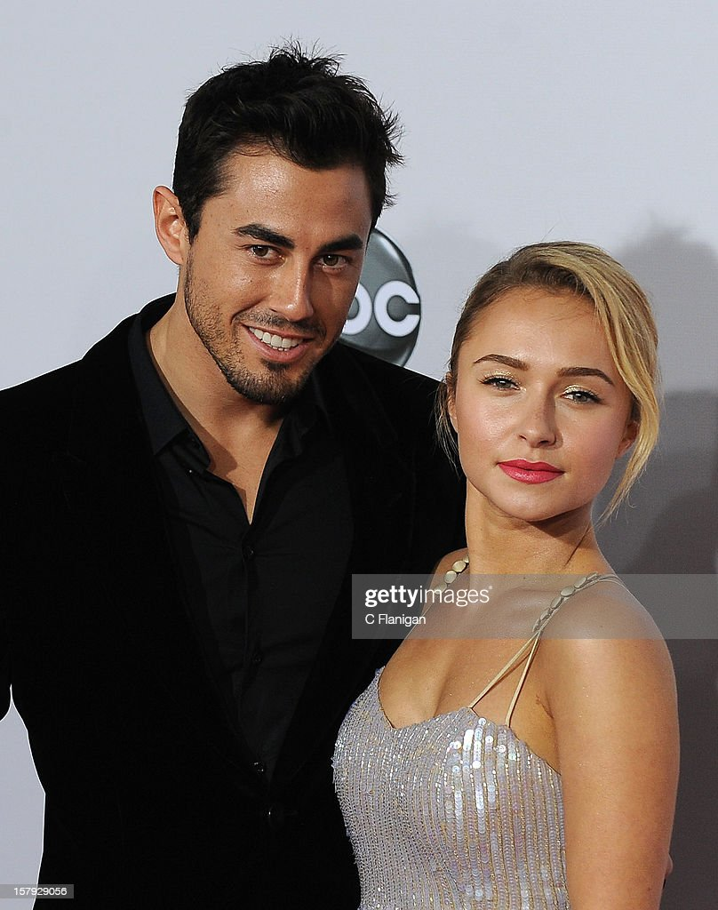 Hayden Panettiere and Scotty McKnight (R) arrive at The 40th American Music Awards at Nokia Theatre L.A. Live on November 18, 2012 in Los Angeles, California.