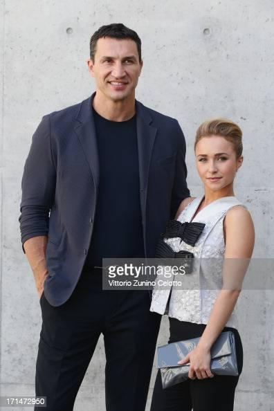Hayden Panettiere and Wladimir Klitschko attend the Giorgio Armani show during Milan Menswear Fashion Week Spring Summer 2014 on June 25 2013 in...