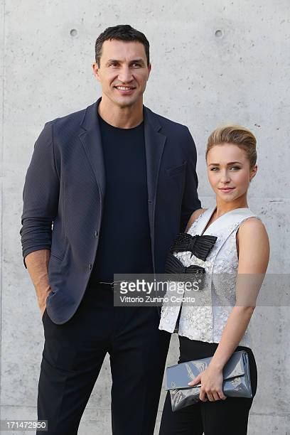 Hayden Panettiere and Wladimir Klitschko attend the Giorgio Armani show during Milan Menswear Fashion Week Spring Summer 2014 on June 25 2013 in...