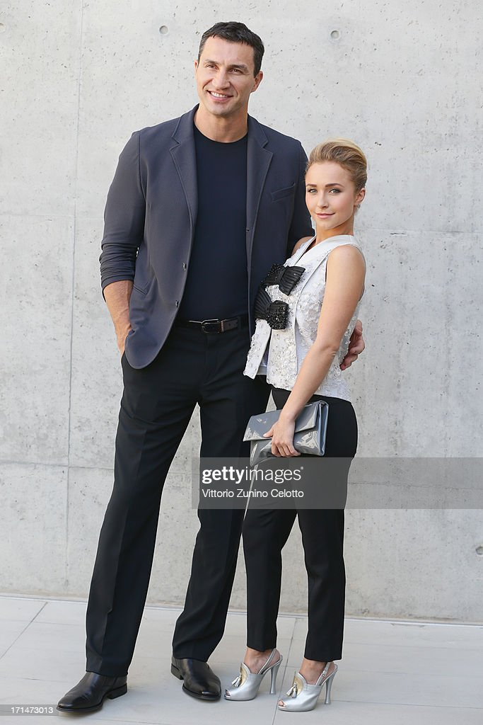 <a gi-track='captionPersonalityLinkClicked' href=/galleries/search?phrase=Hayden+Panettiere&family=editorial&specificpeople=204227 ng-click='$event.stopPropagation()'>Hayden Panettiere</a> and <a gi-track='captionPersonalityLinkClicked' href=/galleries/search?phrase=Wladimir+Klitschko&family=editorial&specificpeople=210650 ng-click='$event.stopPropagation()'>Wladimir Klitschko</a> attend the Giorgio Armani show during Milan Menswear Fashion Week Spring Summer 2014 on June 25, 2013 in Milan, Italy.