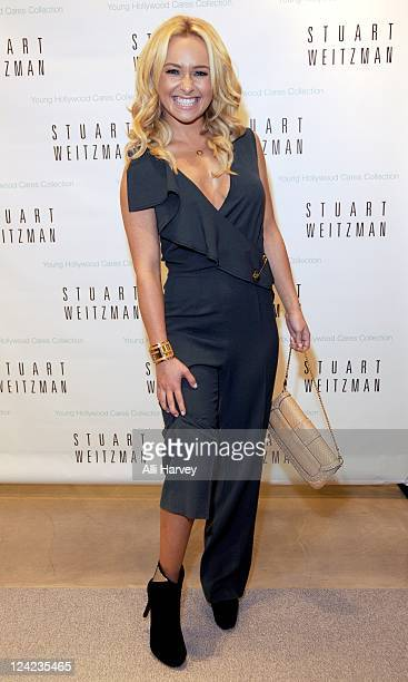 Hayden Panettiere attends the unveiling of Stuart Weitzman's Young Hollywood Cares Collection in aid of ovarian cancer research during Fashion's...