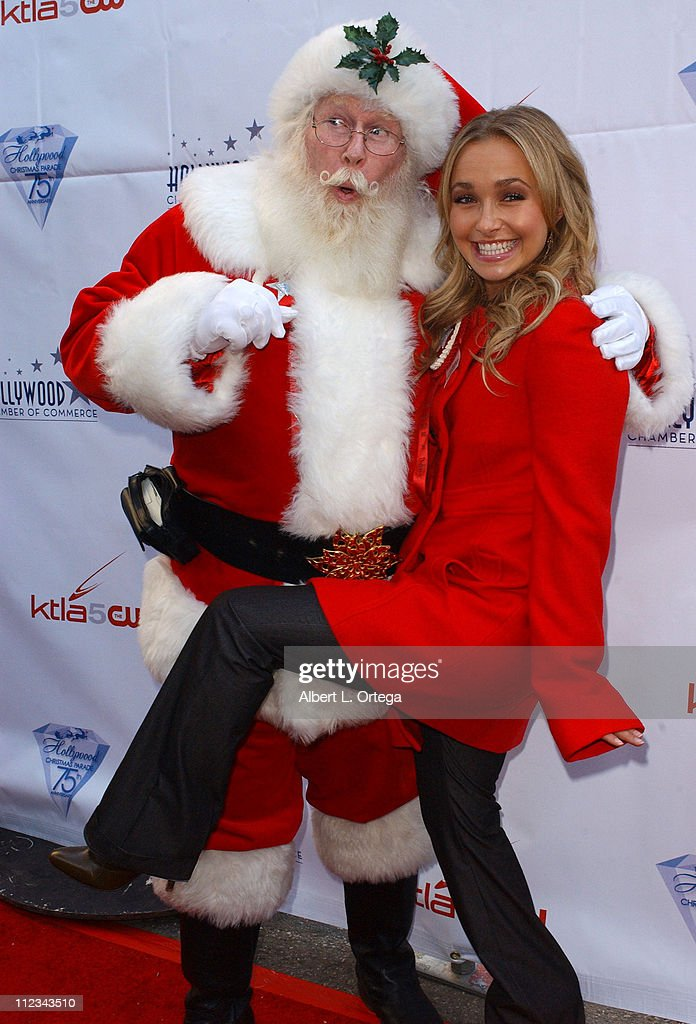 <a gi-track='captionPersonalityLinkClicked' href=/galleries/search?phrase=Hayden+Panettiere&family=editorial&specificpeople=204227 ng-click='$event.stopPropagation()'>Hayden Panettiere</a> of 'Heroes' with Santa Claus during The 75th Annual Hollywood Christmas Parade - Arrivals at The Hollywood Roosevelt Hotel in Hollywood, CA, United States.