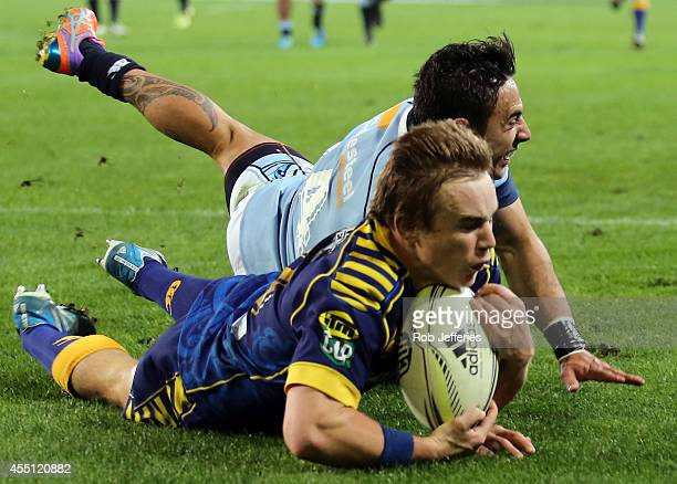 Hayden Parker of Otago scores a try during the round five ITM Cup match between Otago and Northland at Forsyth Barr Stadium on September 10 2014 in...