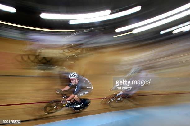 Hayden Roulston of New Zealand competes in the Mens Madison during the 2015 UCI Track Cycling World Cup on December 6 2015 in Cambridge New Zealand