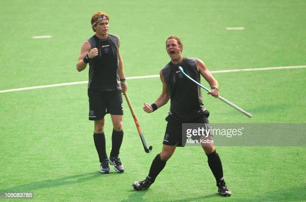Hayden Shaw of New Zealand celebrates scoring a goal in the Men's Pool B match between New Zealand and England at Major Dhyan Chand National Stadium...