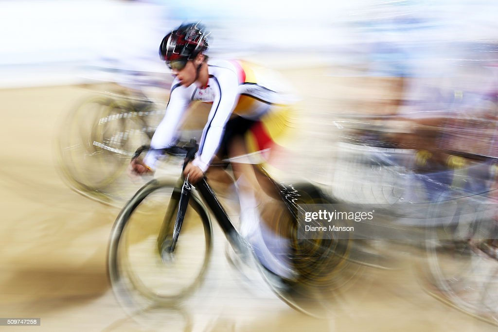 Hayden Strong of Southland competes in the U19 Men 20K Points race final during the New Zealand Track National Championships on February 12, 2016 in Cambridge, New Zealand.