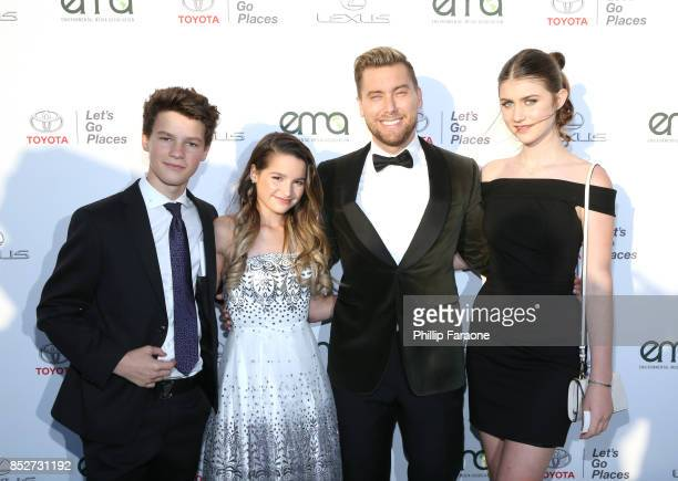 Hayden Summerall Annie LeBlanc Lance Bass and Brooke Butler at the Environmental Media Association's 27th Annual EMA Awards at Barkar Hangar on...