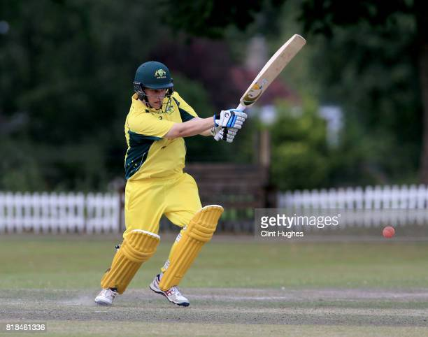 Haydn Brumm of Australia bats during the T20 INAS TriSeries against South Africa at Toft Cricket Club on July 18 2017 in Knutsford England