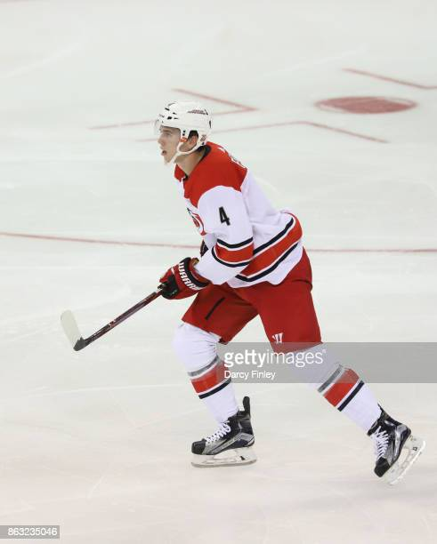 Haydn Fleury of the Carolina Hurricanes follows the play down the ice during second period action against the Winnipeg Jets at the Bell MTS Place on...
