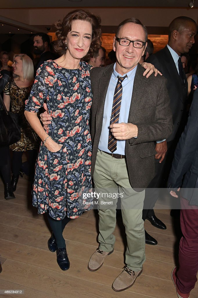 Haydn Gwynne and Kevin Spacey attend The Old Vic's Clarence Darrow Guest Night after party at Mondrian London on March 4 2015 in London England