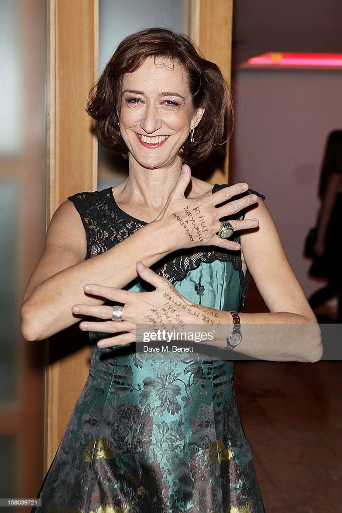 Haydn Gwynne attends an after party celebrating the 24 Hour Musicals Gala Performance at Vinopolis on December 9 2012 in London England