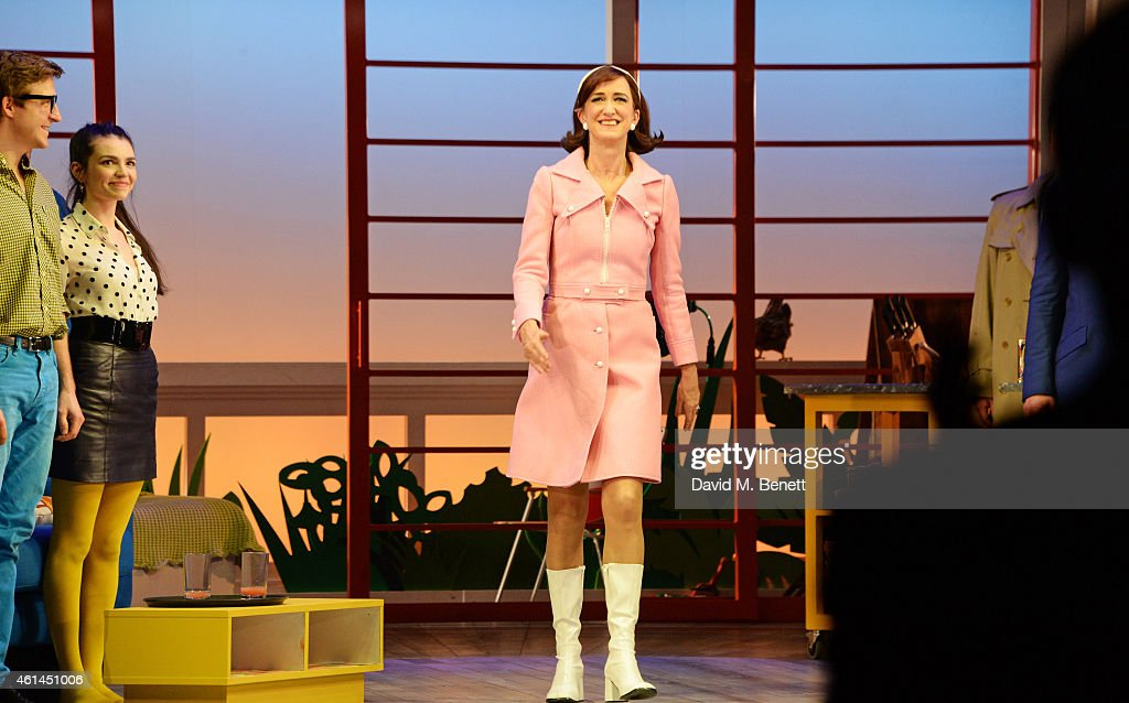 Haydn Gwynne bows at the curtain call during the press night performance of 'Woman On The Verge Of A Nervous Breakdown' at the Playhouse Theatre on...