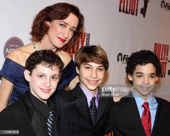 Haydn Gwynne Trent Kowalik Kiril Kulish and David Alvarez pose at the opening night party for 'Billy Elliot The Musical' on Broadway at 608 W 28th...