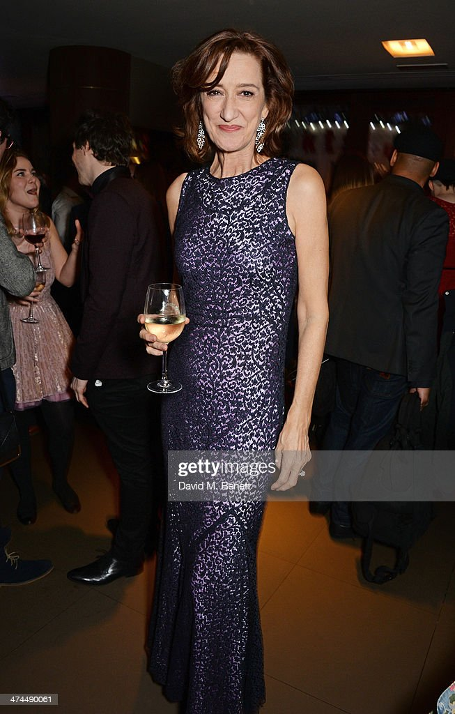 Haydn Gwynne winner of the The POSTCARDS FROM PETE Best Supporting Actress in a Play award attends the WhatsOnStage Awards 2014 after party at The...
