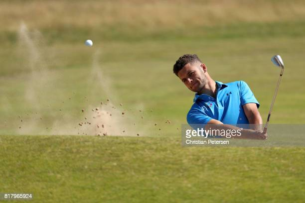 Haydn McCullen of England plays from a bunker during a practice round prior to the 146th Open Championship at Royal Birkdale on July 18 2017 in...