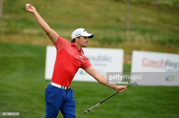 Haydn Porteous of South Africa bowls his ball back to his caddie during the third round of the DD REAL Czech Masters at Albatross Golf Resort on...