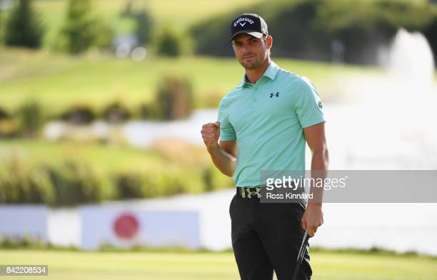 Haydn Porteous of South Africa celebrates his winning putt on the 18th green during the final round on day four of the DD REAL Czech Masters at...