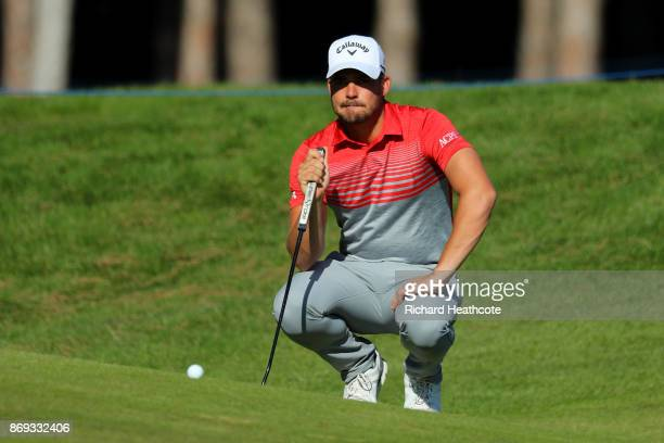Haydn Porteous of South Africa lines up a putt on the 10th green during the first round of the Turkish Airlines Open at the Regnum Carya Golf Spa...